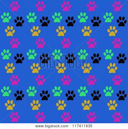 Background seamless fun print traces of the paws of the animal