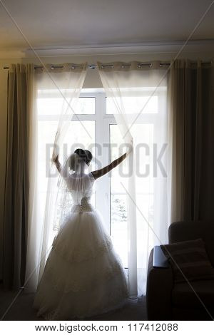 happy luxury stylish brunette bride near a window