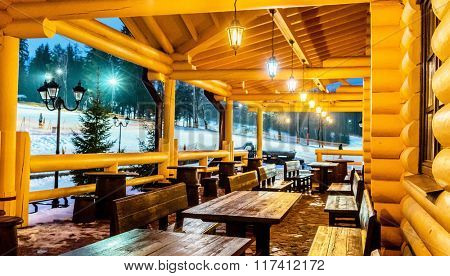wooden cafe