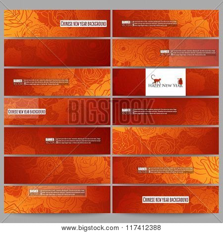 Set of modern banners. Chinese new year background. Floral design with red monkeys, vector illustrat
