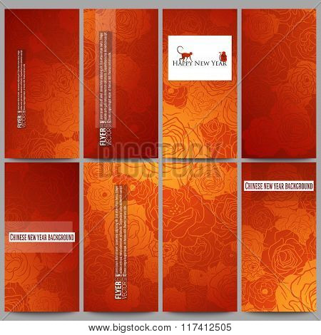 Set of modern flyers. Chinese new year background. Floral design with red monkeys, vector illustrati