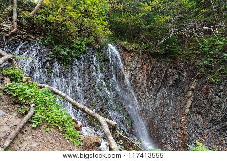 Cool Waterfall In The Green Forest. Carpathians
