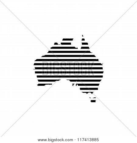 Black linear symbol of australia map on white, vector illustration