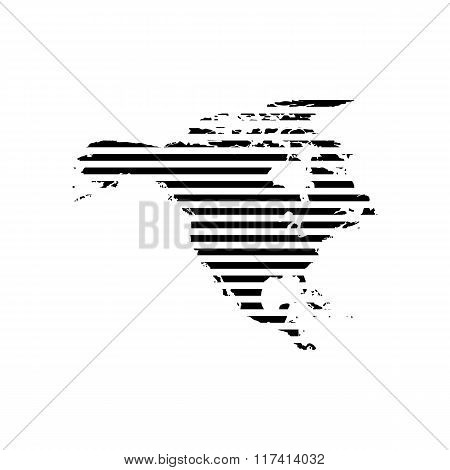 Black linear symbol of north America map on white, vector illustration