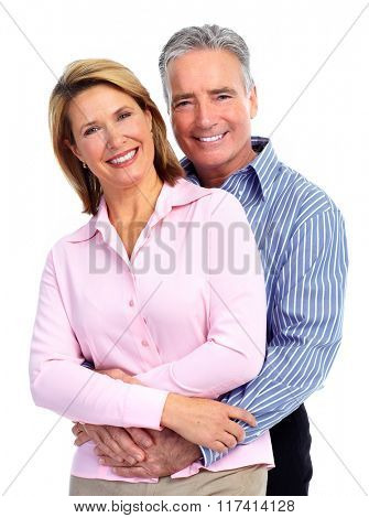 Happy loving elderly couple.