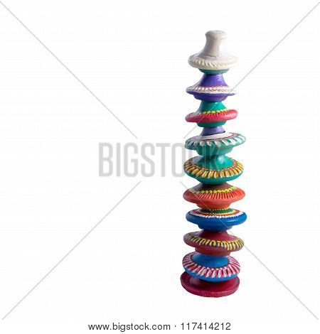 Composition Of Colourful Ornate Stacked Artistic Painted Pottery Caps