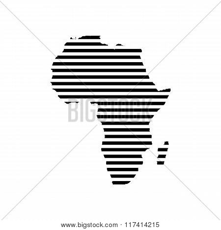 Black linear symbol of africa map on white, vector illustration