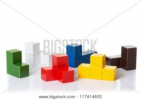 Multi colored wooden blocks, logic puzzle