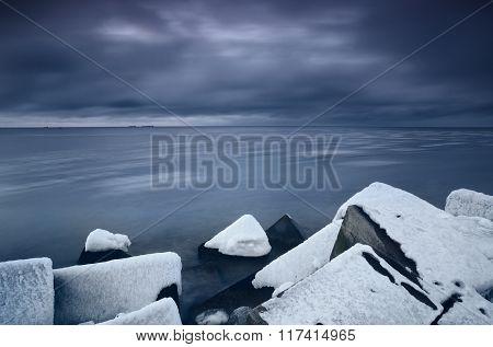 Baltic Sea In Winter In Dramatic Mood