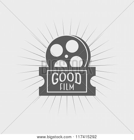 Film Reel And Ticket Icon, Label Or Logo Design Template.  Cinema, Movie Poster Element. Can Be Used