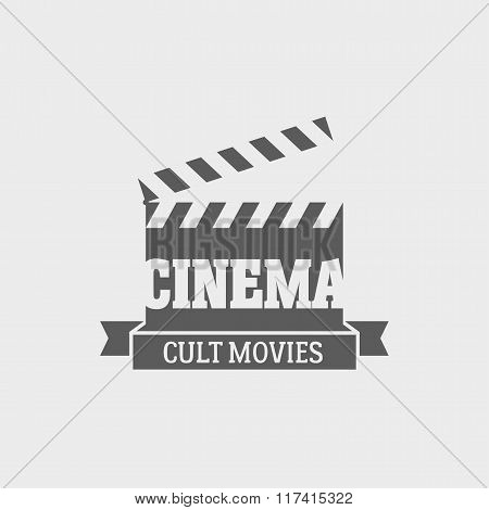Vector Cinema Cult Movies Logotype Or Label Design Template With Movie Clapping Board.