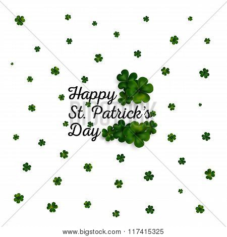 Green clovers on white, decoration for St Patricks day
