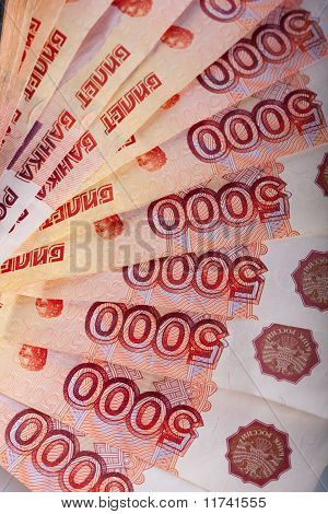 Russian five thousands banknotes