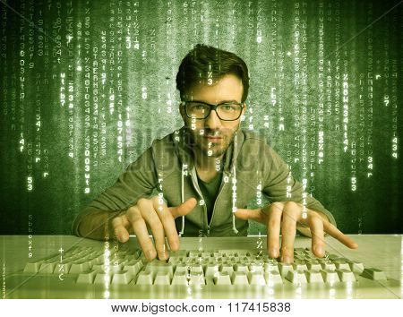 A talented hacker scanning online passwords database and hacking emails of users with numbers, codes, letters running in the background concept
