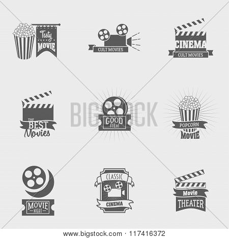 Set Of Vector Cinema Logos And Signs. Movie, Theater Studios And Cinema Badges. Vintage Emblems With