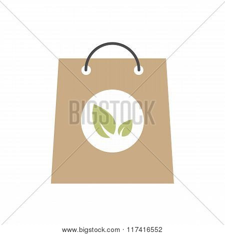 Paper bag with leaves icon
