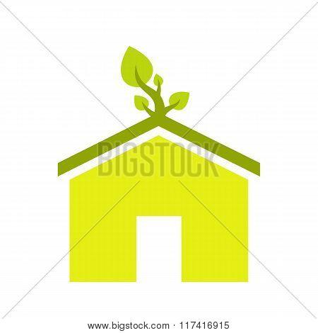 Eco house flat icon