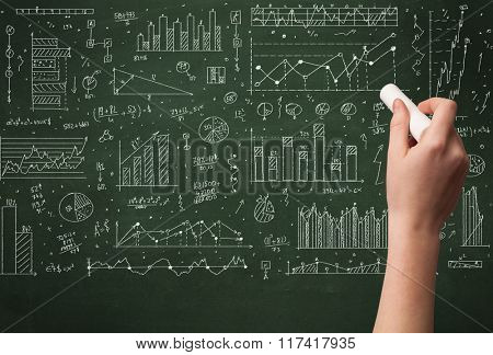 A hand drawing lines, pie charts, graphs on a green blackboard with a chalk