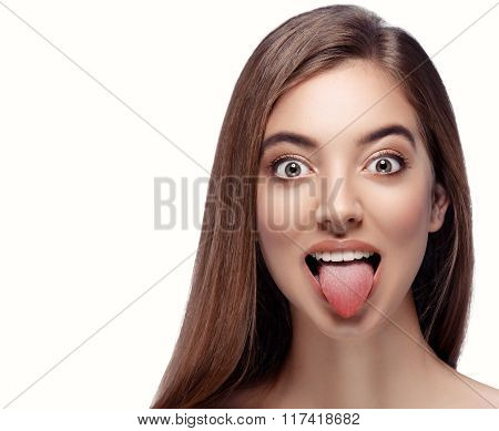 Tongue Open Mouth Beautiful Woman Face Close Up Portrait Young Studio On White