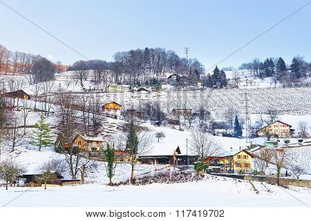 Landscape On Countryside In Switzerland In Winter