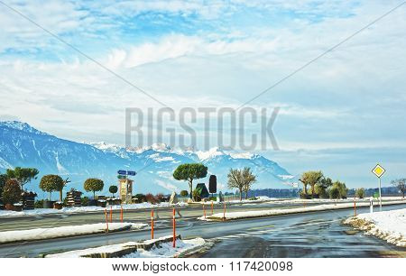 Road View Of Snow Covered Switzerland
