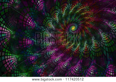 Abstract fractal swirl with colorful tiles in gradients