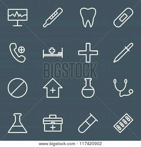 Set Of White Line Medical Icons.