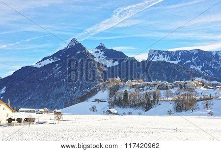 Landscape Of Countryside In Switzerland In Winter