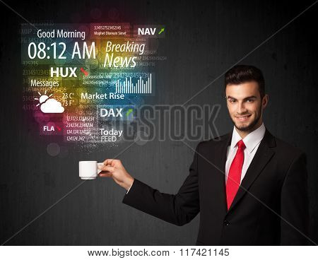 Businessman standing and holding a white cup with daily news and information coming out of the cup