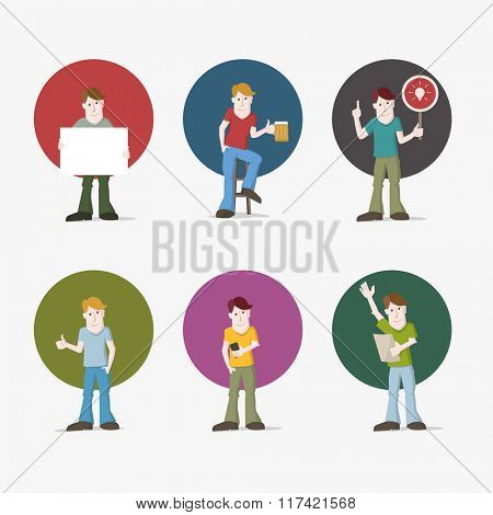 Vector illustration set of young casual man. Various poses.