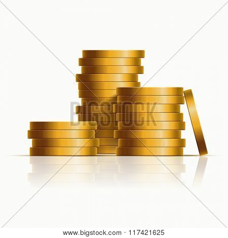 Vector stacked golden coins. Vector illustration.