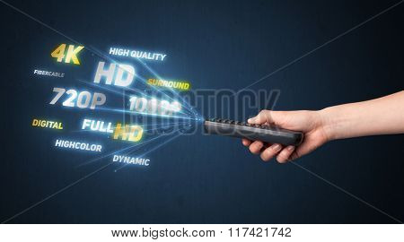 Hand holding a remote control, multimedia properties coming out of it