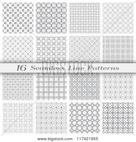 Set of sixteen seamless linear patterns with thin lines