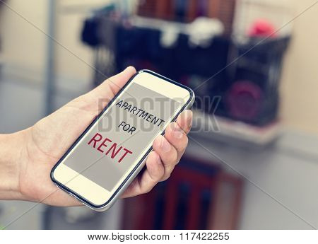 closeup of a young man with a smartphone in his hand with the text apartment for rent in its screen