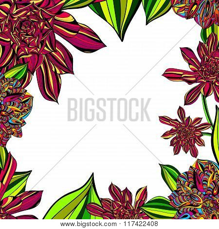 Bright Floral Tropical Frame