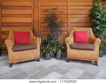 Ssitting Area With Wicker Chairs