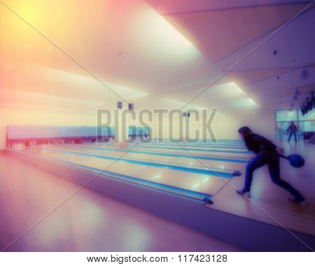 Woman Relaxing In The Room Bowling