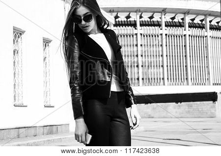 Young Beautiful Sexy Woman In Black Skin Clothes Happy Outdoors Black And White