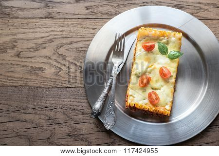 Lasagna On The Metal Plate: Top View