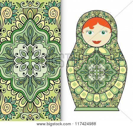 Russian doll toy souvenir, seamless geometric floral pattern