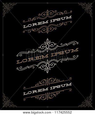 Set of elegant vintage ornamental emblems and logos templates - vector illustration