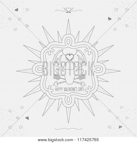 Cute Linear Happy Valentine's Day deer emblem with sunburst, hearts and texture on off white backgro