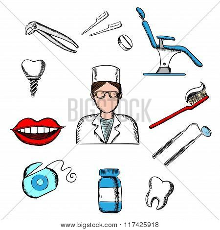 Dentistry medicine with dentist and objects