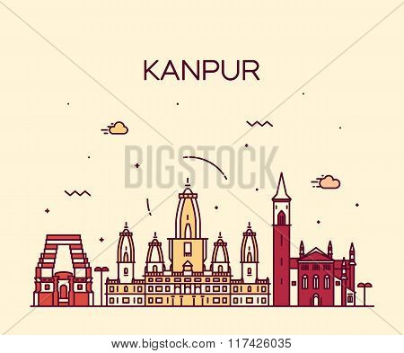 Kanpur skyline detailed vector illustration linear