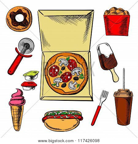 Fast food pizza and snacks
