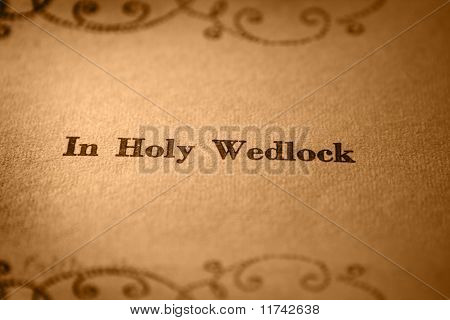In holy wedlock