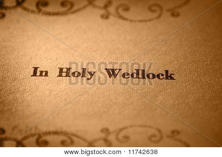 In holy wedlock