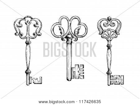 Three medieval vintage keys sketches