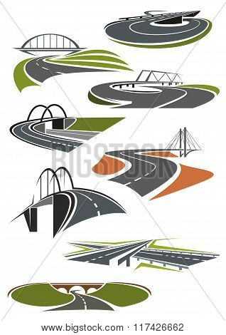 Icons of roads with bridges