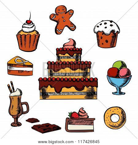 Desserts with cake and confectionery